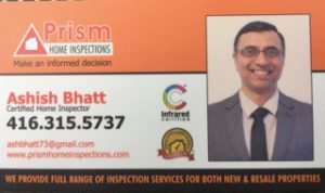Prism Home Inspections - Ashish Bhatt's business card