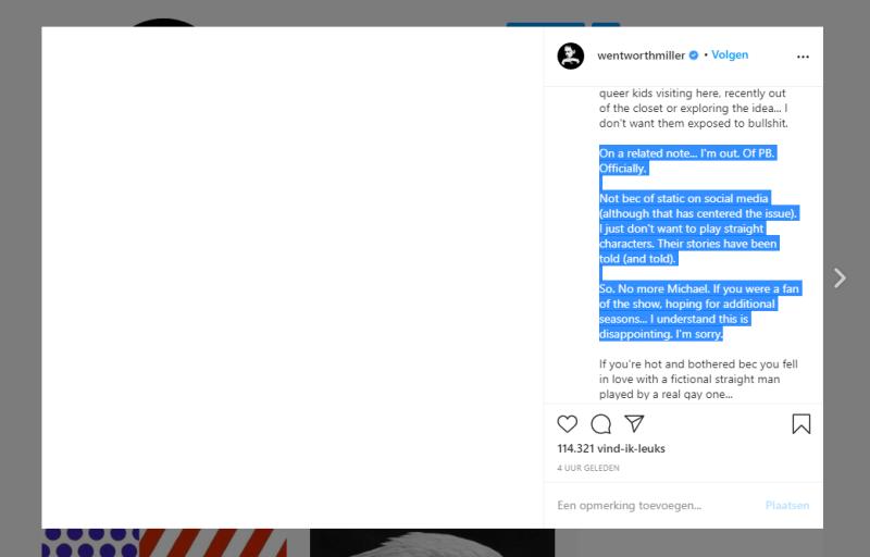 Wentworth Miller op instagram geen Prison Break meer