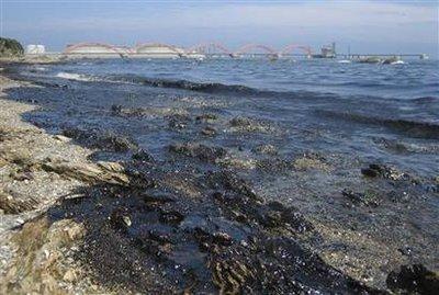 View shows crude oil in sea