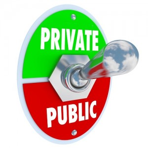 Private vs Public words on a toggle switch to flip between privacy and shared information on a website or other channel or system for communication