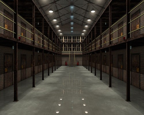 Interior of an old prison 3d