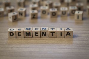 Dementia written in wooden cubes