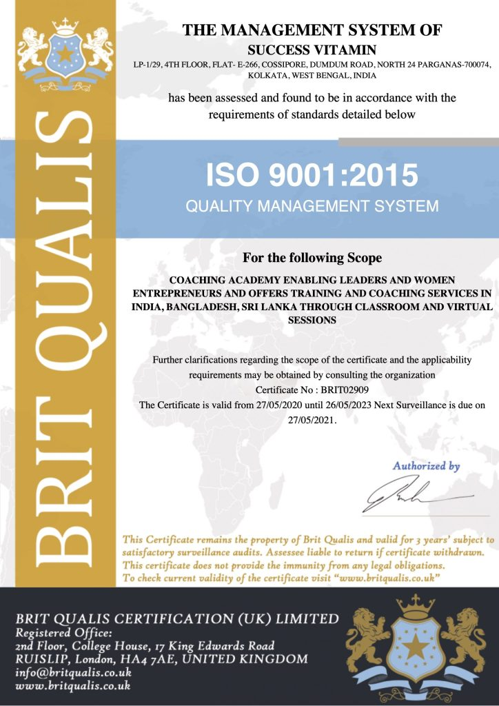 Success Vitamin is now ISO 9001:2015 certified