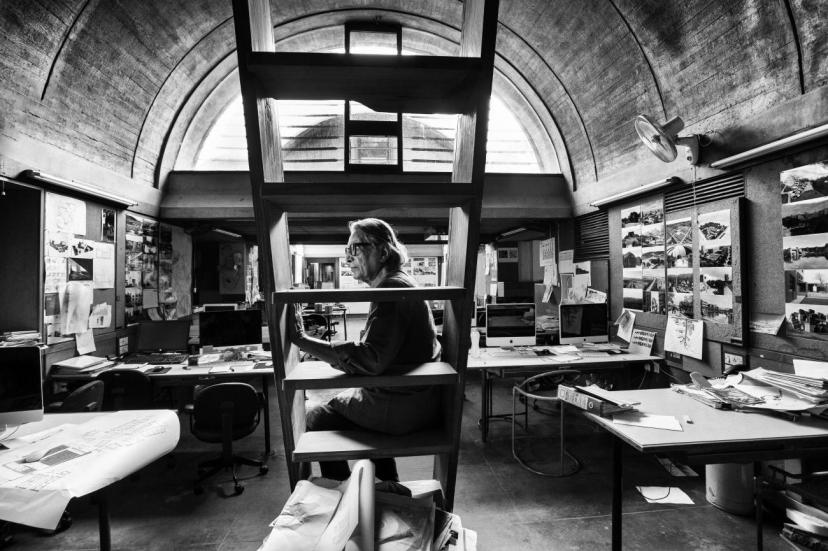 Doshi in his studio, Sangath