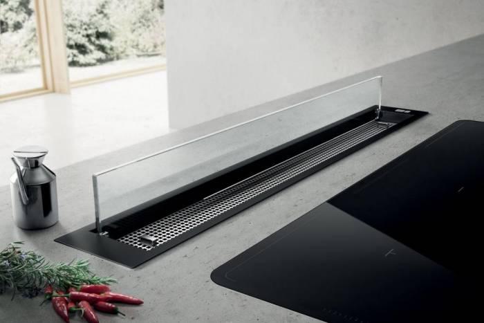 hotte plan de travail elica see you 90 cm coloris noir et verre prf0120984 elica