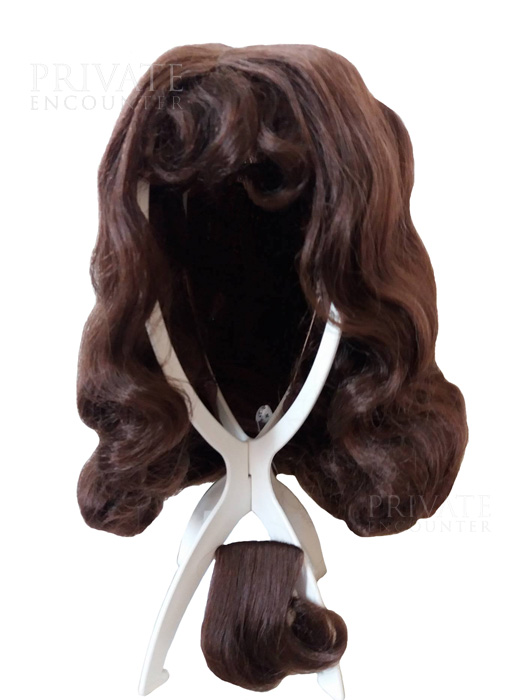 Brown Wavy Musketeer Wig and Beard, Medieval Cavalier, Pirate Fancy Dress Accessory