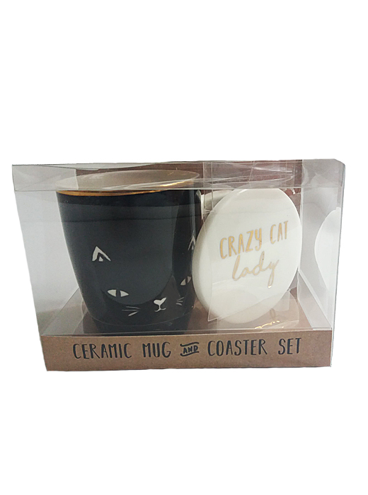 'Crazy Cat Lady' Mug and Coaster, Tea, Coffee Boxed Set, Pet, Gift, Present