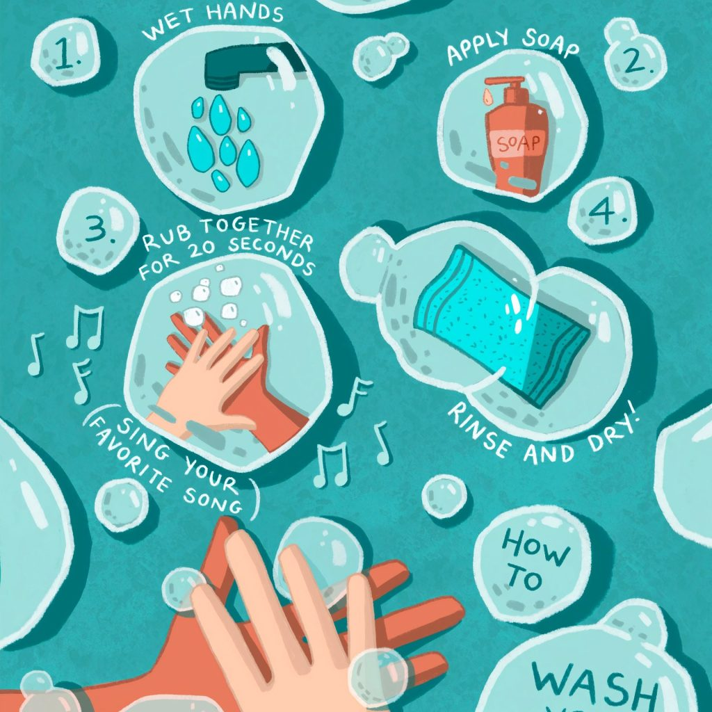 exam safety by washing hands