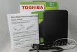 Inside box of Toshiba Hard Drive
