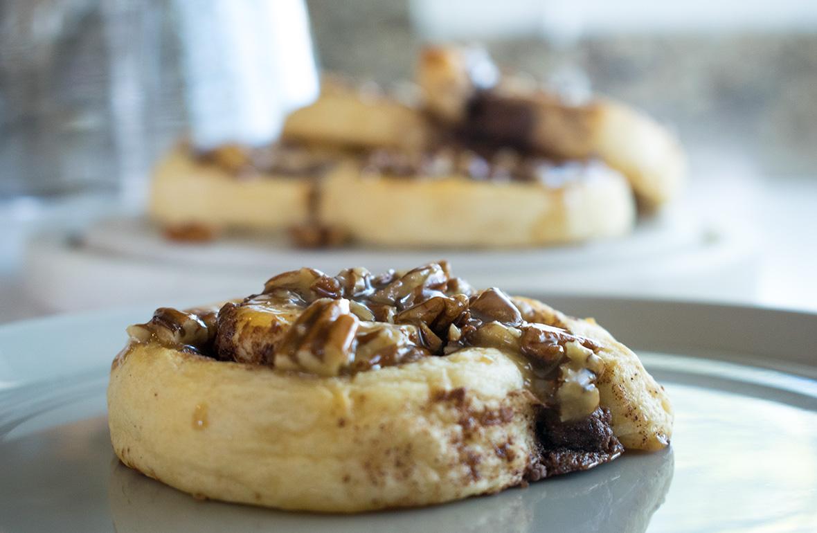 Nutella Swirl Roll with Pecan Praline Glaze