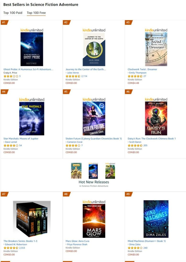 amazon best seller in science fiction adventure