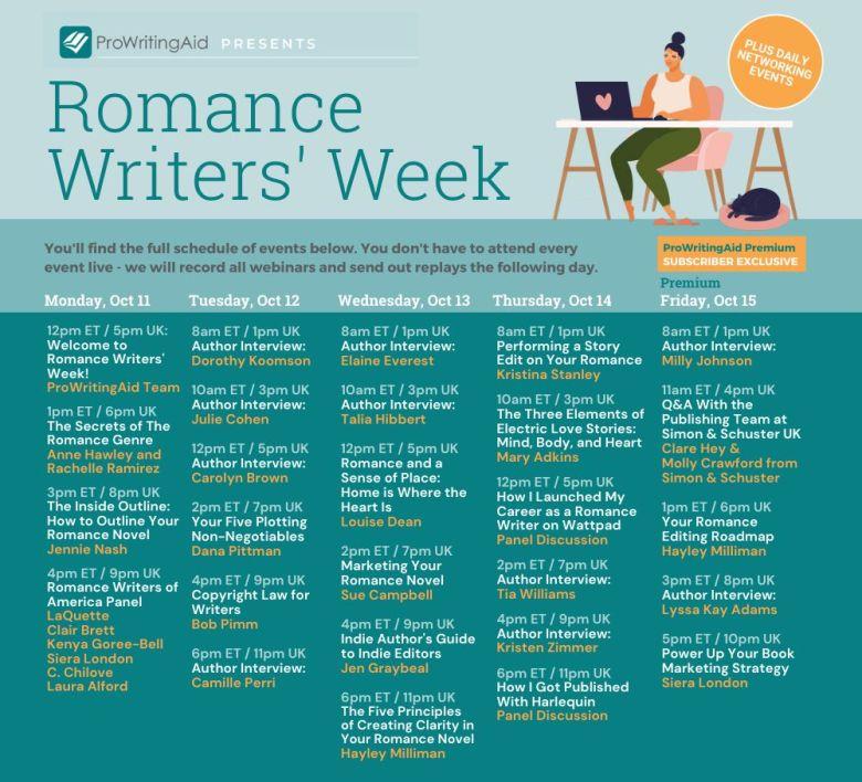 Romance Writer's Week Schedule