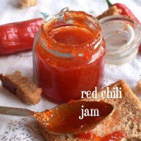 homemade chilli jam recipe | how to make red chilli jam, red chilli chutney