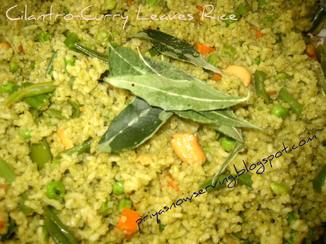 Cilantro-Curry Leaves Rice