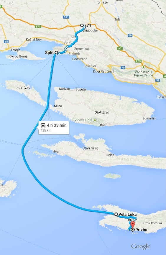 Trajekt Za Korčulu Smjer Split Vela Luka