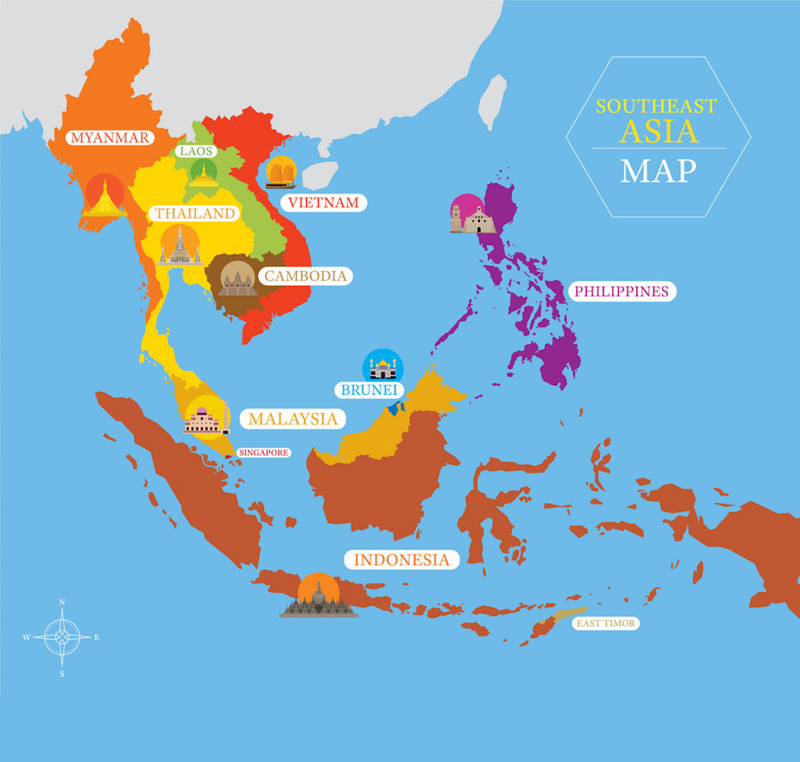 Southeast Asia Political Map And 100 More International Maps