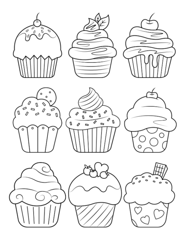 Cupcake Coloring Pages And Many More Top 19 Themed Coloring Challenges