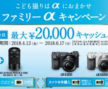 こども撮りカメラ!α6300・α6000キャッシュバックキャンペーン!