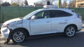 Google self driving car after collision
