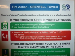 """Stay Put"" Fire Action Sign, Grenfell Tower"