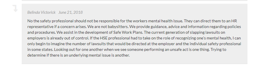 A screenshot of a comment on the Safety and Health poll.