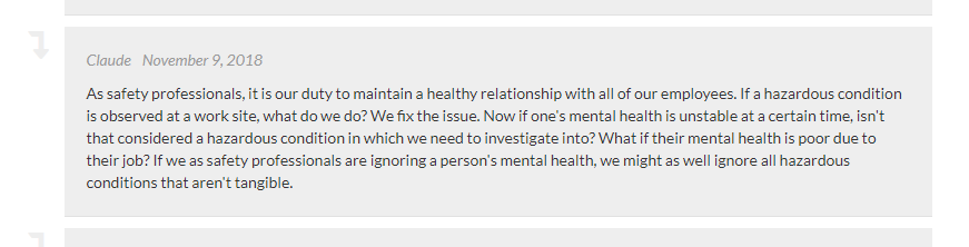 A comment on workplace mental health.