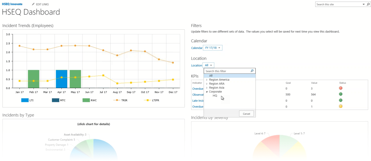 Drill into EHS data right within SharePoint with configured dashboards from Pro-Sapien