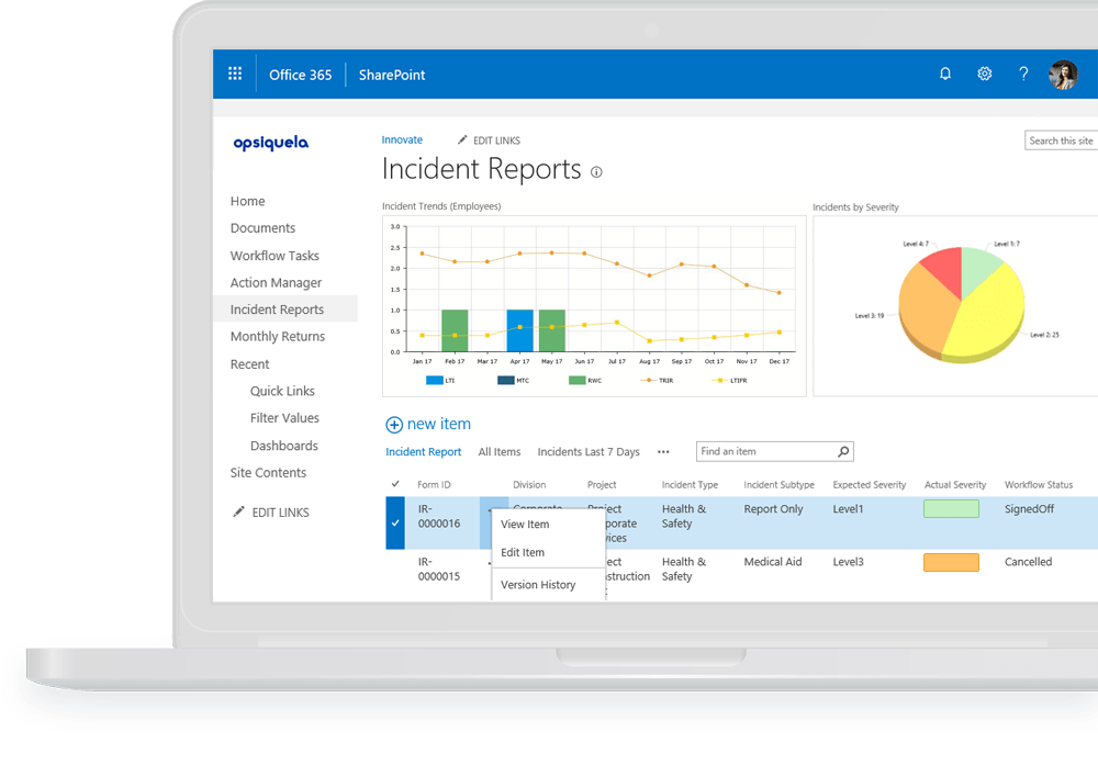 EHS Incident Management Software dashboard in Pro-Sapien on Office 365