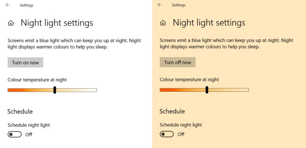 Screenshot of how to control your screen temperature in Windows 10