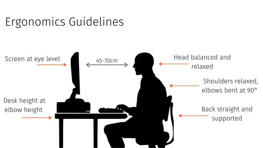 Guidelines to maintain a good posture while working at a desk