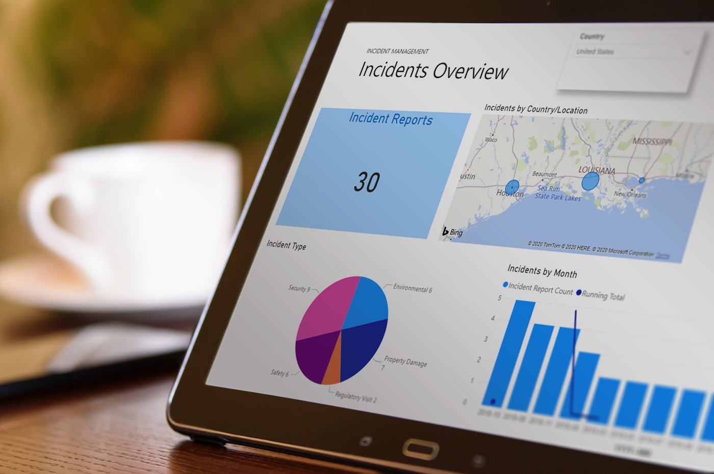EHS Incidents Report in Power BI on a tablet