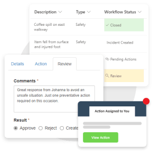 Review and respond to safety observations with automated notifications