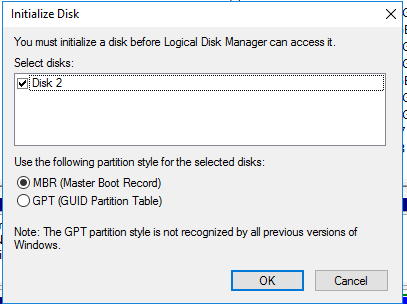 Initialize popup when installing a hard drive