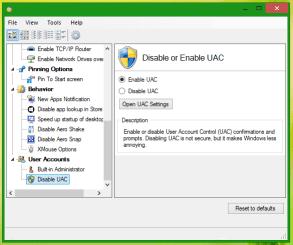 Turn off the User Account Control settings - Screenshot