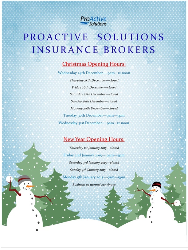 Christmas and New Year Opening Times