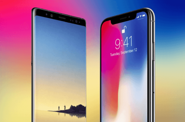 Galaxy note ocho vs iphone x pantalla