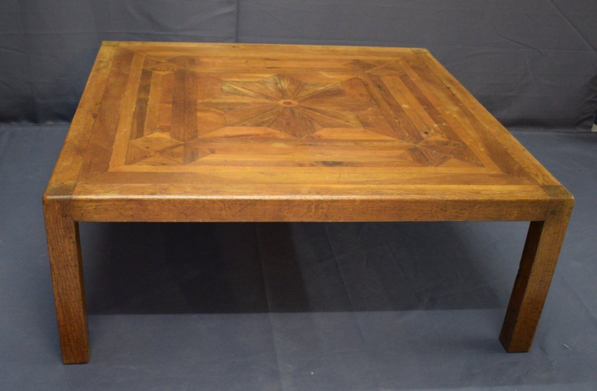 large wooden coffee table parqueted