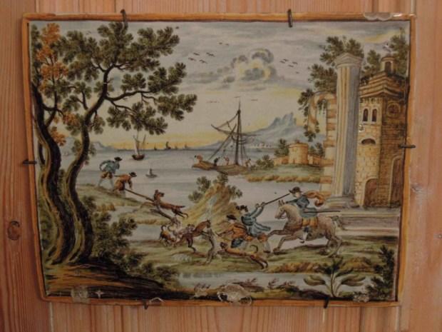 Plaque De Castelli, En Faïence à Décor Polychrome, XVIIIe Siècle.
