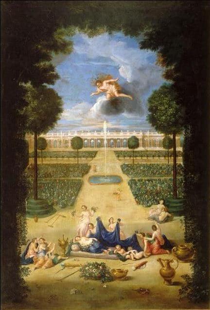 Jean Cotelle  : vue des parterres de Trianon avec Flore et Zephyr