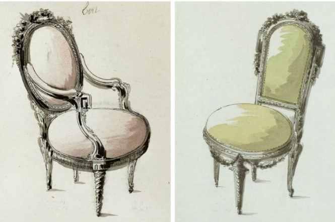 Fauteuil et chaise à la reine louis XVI,  dessin Jean charles delafosse