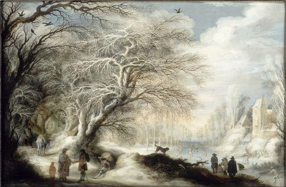 Gijsbrecht Leytens, Paysage d'hiver avec gitans et patineurs, Huile sur bois,  © RMN -Photographie : G. BLOT