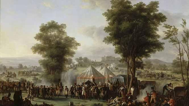 Bivouac de Napoléon Ier près du château d'Ebesberg. Antoine-Pierre Mongin. Versailles, Musée national des châteaux de Versailles et de Trianon (©RMN-GP/Jean Schormans).