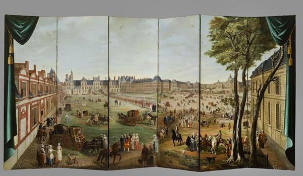 Paravent représentant les châteaux de Fontainebleau et de Versailles sous le règne de Louis XV École française du XVIIIe siècle © François Doury