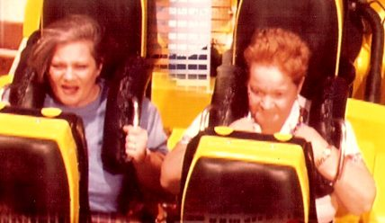 Sue and her mom on roller coaster