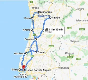 Map op Portugal for a Lisbon to Porto road trip
