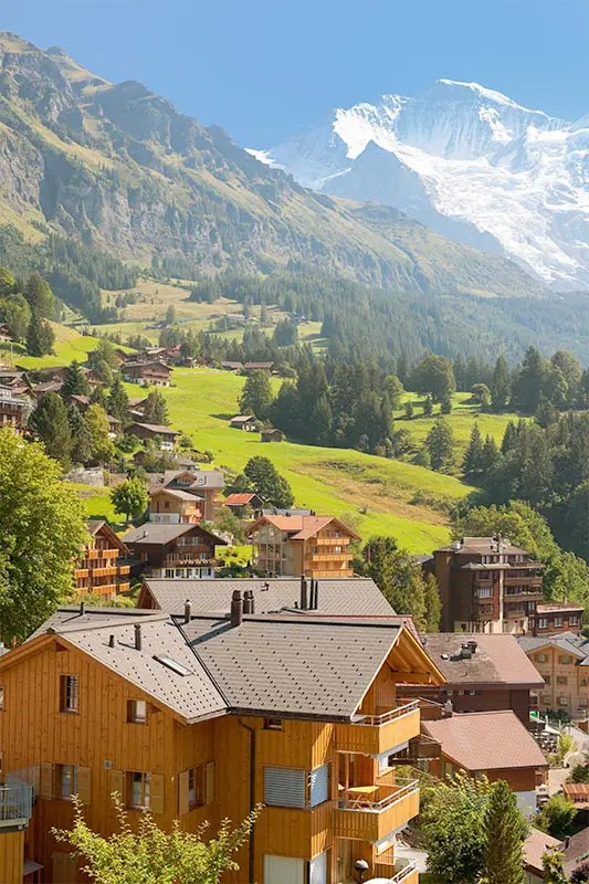 View of Wengen village with the Jungfray mountain in the distance.