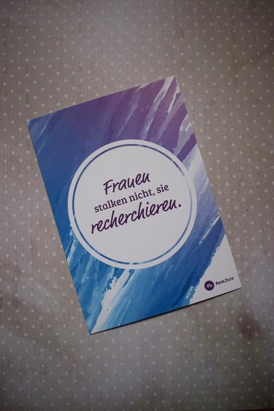 Fembox Postkarte Frauen stalken nicht Probenqueen
