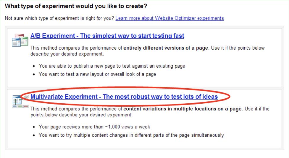 Google Website Optimizer multivariate experiment