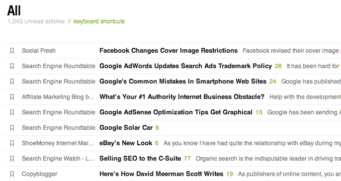 Tim Soulo's google reader screen of headlines