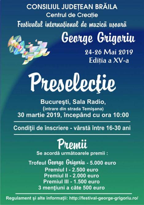 Au început înscrierile pentru preselecțiile la Festivalul George Grigoriu